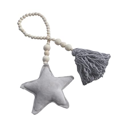 Grey Moon Wall Hanging Ornament Tieback Rope for Kids Bedroom Decoration
