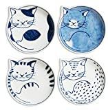Hasami-yaki Small Dishes(4 type cat pattern)Made in Japan
