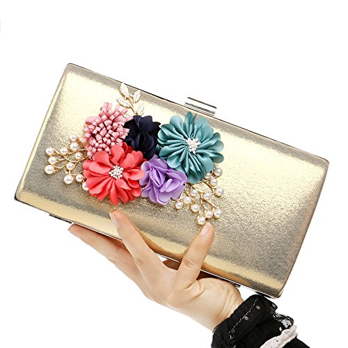 Day Evening Pattern Flowers Appliques The Dinner The Chain Clutches gold Bags Bags KYS Bags Wedding Women 54wq77