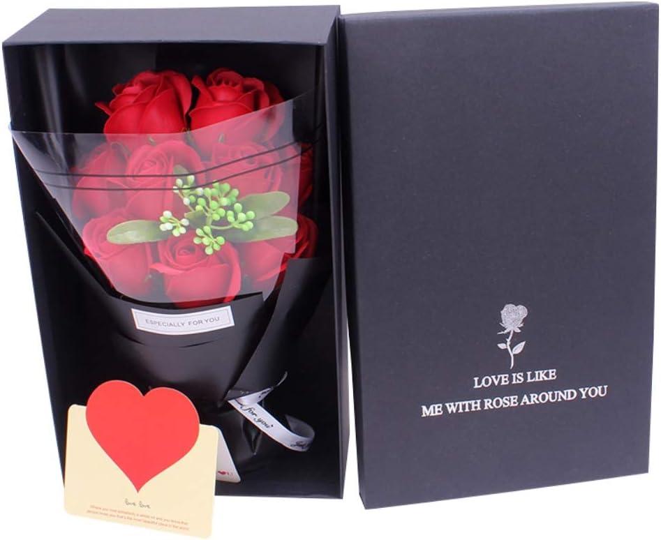 Ramo de flores de jabón con aroma a rosas en caja de regalo con bolso Regalo floral artificial para el día de San Valentín, cumpleaños, aniversario, boda de Handfly