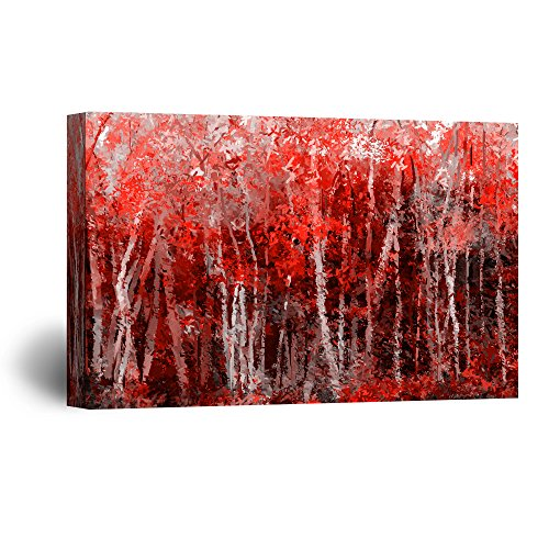 (wall26 Canvas Wall Art - Abstract Red Forest - Giclee Print Gallery Wrap Modern Home Decor Ready to Hang - 32x48)