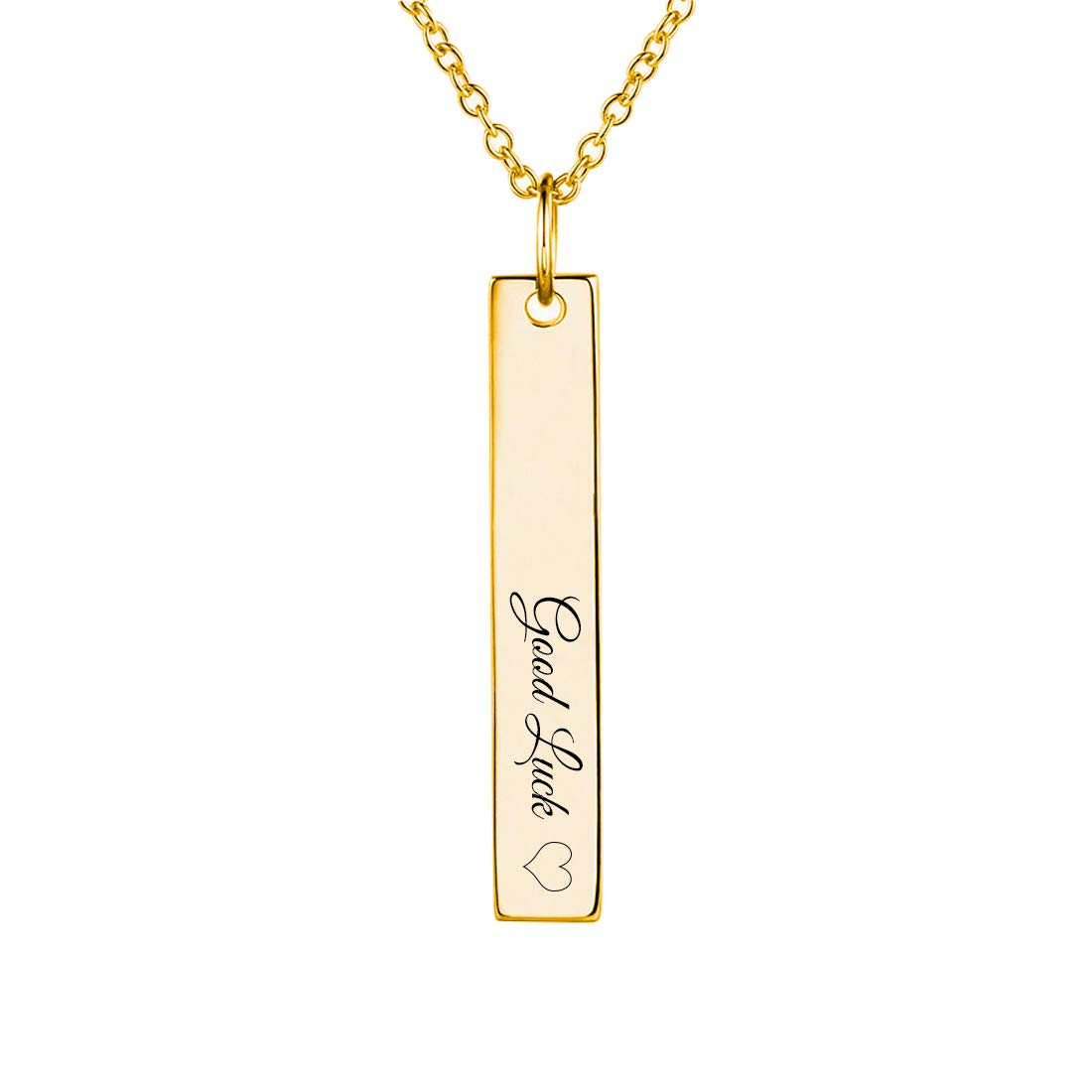 699166222 MeMoShe Personalized Bar Necklace, 18K Gold Plated Custom Name Engravable  Necklace with Adjustable Chain Charm