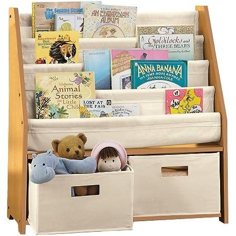Kids Sling Bookshelf With Storage Bins NATURAL