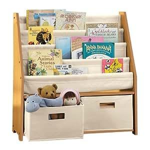 Kids' Sling Bookshelf with Storage Bins NATURAL
