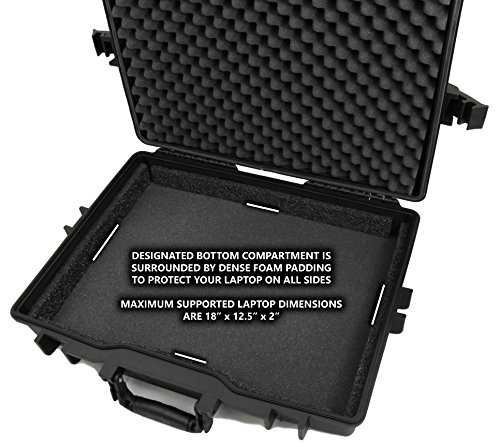 CASEMATIX 17.3'' Laptop Hard Case for Dell Alienware Laptop and Accessories Fits Alienware Area 51M AW17R4, Alienware AW15R3 and More Laptops Up to 18 Inches with Custom Foam Waterproof AIRTIGHT by CASEMATIX (Image #3)