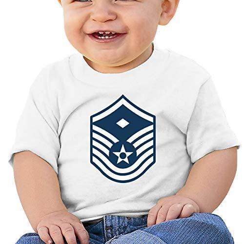 Air Force Master Sergeant 1st SGT Diamond Rank Baby Toddler Short Sleeve Crewneck Cotton Tshit White
