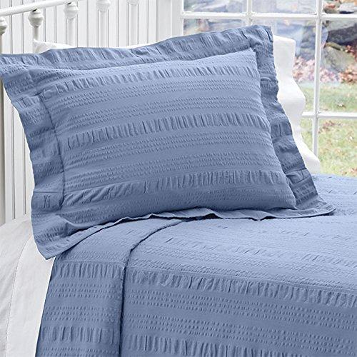 Orvis Year-round Seersucker Bedspread / Only Queen, Sky Blue,