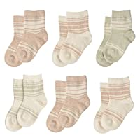 Niteo Certified Organic Cotton Baby Socks 6-Pack, Multi, 0-6 Months