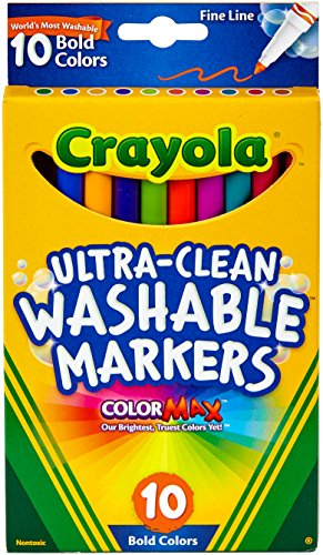- Crayola 10 Ct Ultra-Clean Fineline Bold Markers