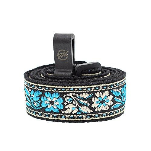 CLOUDMUSIC Colorful Hawaiian Jacquard Woven J Hook Clip On Ukulele Strap Ukulele Belt For Soprano Concert Tenor Ukulele (Blue Flower In Black)