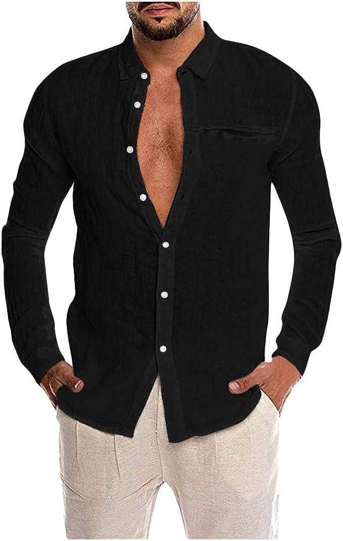 WSPLYSPJY Mens Long Sleeve Loose Tops Denim Button Down Shirt