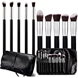 Roybens Premium Wood Handles 10 Piece Professional Cosmetic Kabuki Makeup Brush Set Cosmetics Foundation Blending Blush Concealer Eyeliner Face Powder Brush Suit--With PU Leather Case