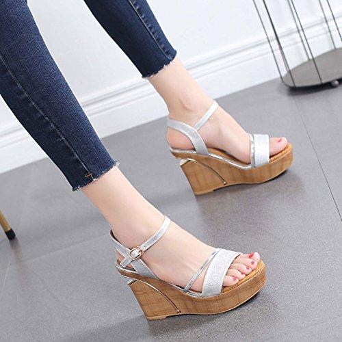 GTVERNH Hang Pumps Sandalen Schnallen Witze Damenschuhe Wasserdicht - Plattform 9Cm Sommer Mode Schuhe Mit Hohen Absätzen.