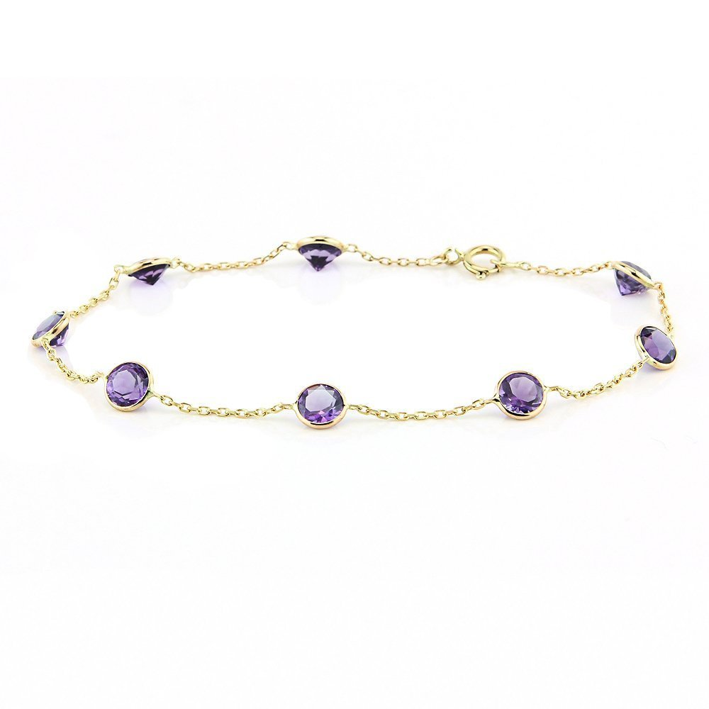 14k Yellow Gold Handmade Bracelet with Round 5mm Amethysts 7 Inches