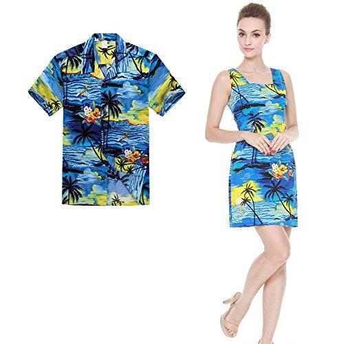 Couple Matching Hawaiian Luau Outfit Aloha Shirt Tank Dress In Sunset Blue Men L Women S by Palm Wave