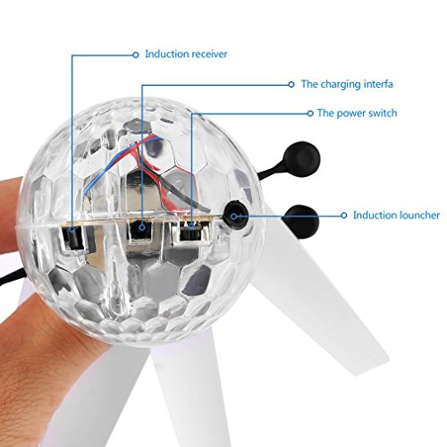 ALTERDJ Flying Toys Toy Helicopter Light Weight Plastic Infrared Induction Flying Flash Disco Colorful Magic LED Ball Stage Lamp Helicopter Children Toy Best Gift for Kids