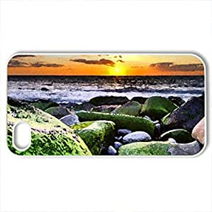 Beach Sunset - Case Cover for iPhone 4 and 4s (Sunsets Series, Watercolor style, White)