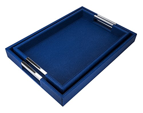 (VIVE DESIGNS Shragreen Faux Leather Recangular Trays, Luxury Blue Serving Trays, Breakfast Coffee Tray, Butler Serving Trays, Set of 2)