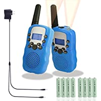 Walkie Talkies for Kids, Rechargeable Long Range Kids Walkie Talkies, with Rechargeable Batteries and Charger, 2 Way Radio With Flashlight 22 Channel, Kids Toys Walkie Talkies, 2 pack (Blue)
