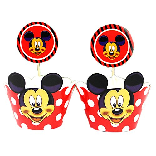 BETOP HOUSE Set of 1 Dozen Red Mickey Mouse White Dot Cupcake Wrappers Toppers Kit for Kids Birthday Party Baby Shower]()