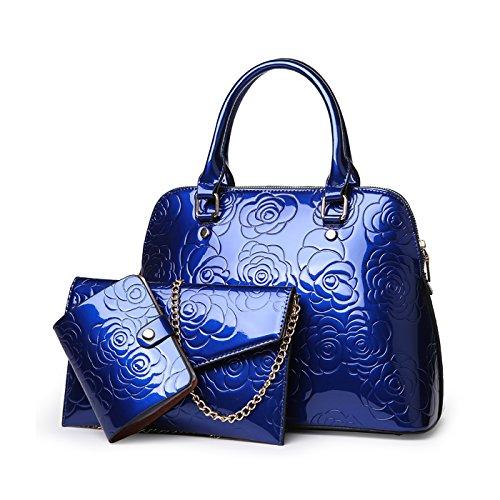 Tisdaini a mano tre fiore Borsa Messenger a Blu verniciata pelle in pezzi con a tracolla rwXTqx7Or1