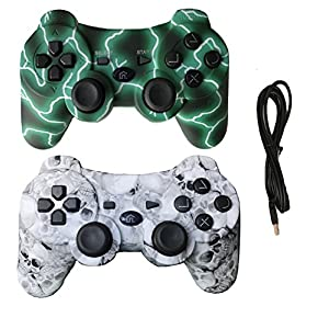 IHK 2 Pack Wireless Dual Vibration Controller for PS3, Gamepad Remote for Playstation 3 with Charge Cables, Green and…