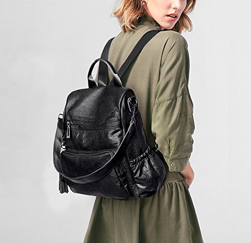 454 Ladies Backpack Convertible PU Women black Purse Zipper Bag Rucksack Leather Shoulder Pocket Crossbody Washed Tassel Light UTO Purple TA0wq