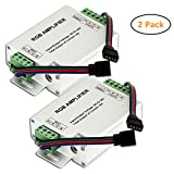 SUPERNIGHT DC 12V to 24V 12A LED Strip Lights 3 Channels RGB Signal Amplifier Repeater for 10m 4 Pin 5050 3528 LED String Lights - 2 Pieces Pack