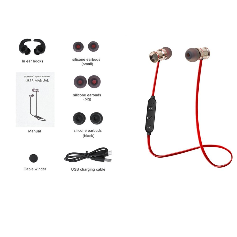 Fashion In-ear-Sport-Stereo-Magnetic- Wireless-Bluetooth Earphone, compatible with most universal bluetooth devices such as androids by UAKAM by UAKAM (Image #2)