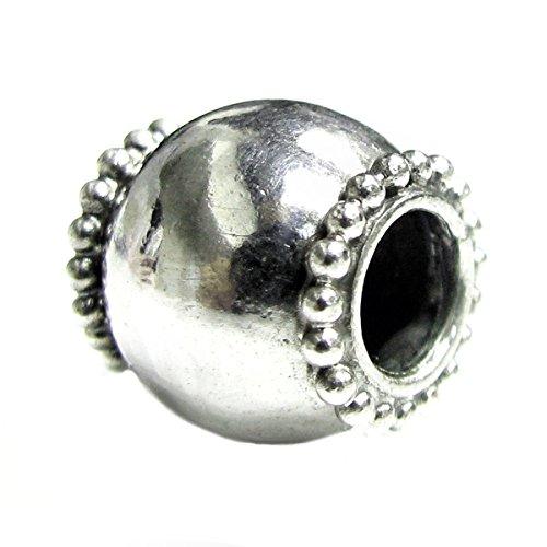 Bali 925 Sterling Silver Round Dot Barrel Handcraft Bead For European Charm Bracelet