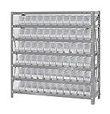 Quantum Storage Systems 1239-100CL Clear-View Shelf and Bin Unit, 72 QSB100 Shelf Units, 12'' D x 36'' W x 39'' H