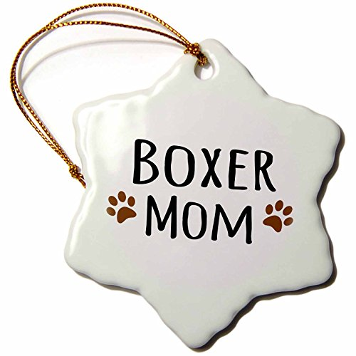 3dRose orn_154083_1 Boxer Dog Mom-Doggie by Breed-Brown Muddy Paw Prints Love-Doggy Lover Pet Owner-Snowflake Ornament, 3-Inch, Porcelain