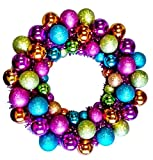 """Queens of Christmas BAT-BWR-16-FU-PW Mardi Gras Ball Christmas Wreath with Battery Powered Pure White LED, 16"""""""