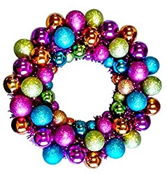 Queens of Christmas BAT-BWR-16-FU-PW Mardi Gras Ball Christmas Wreath with Battery Powered Pure White LED, 16""