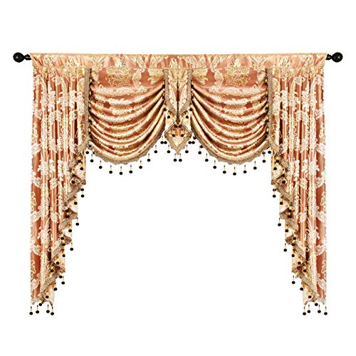 elkca Golden Damask Jacquard Swag Waterfall Valance Luxury Curtain Valance for Living Room Rod Pocket Valance (Damask-Coffee, W59 Inch,1 Panel)
