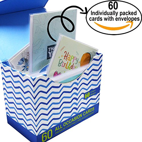 60 Pack Assorted All Occasion Greeting Cards with Magnetic Organizer, BIG 5 x 7 Inches, Birthday Cards, Get Well, Thank You Assortment, 60 UNIQUE DESIGNS, Bulk Box Set Variety Pack with Thick Envelope