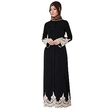 b08954d521 Muslim Middle Eastern Turkish Fashion Full Buckle Lace Robes Long Sleeve  Dress Tunic Gowns Kaftan Abaya
