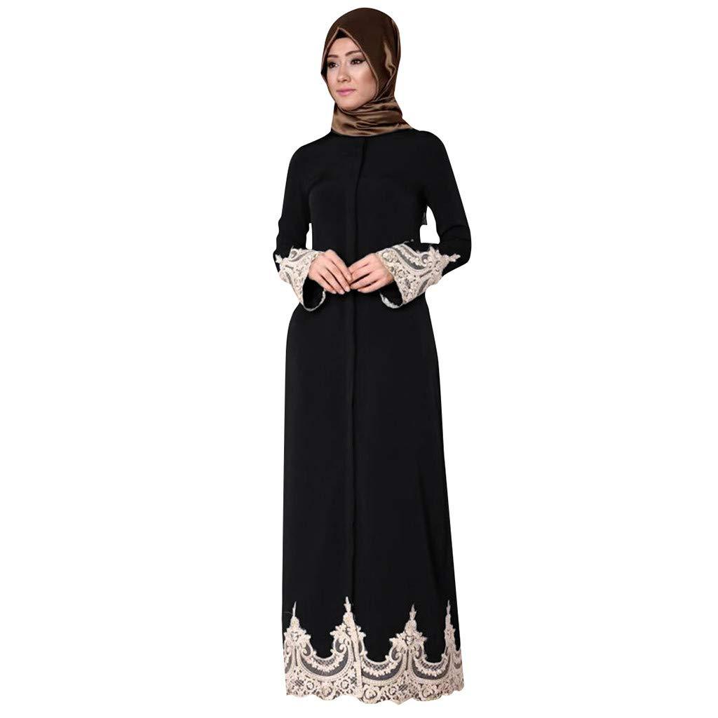 Women Summer Small Floral Maxi Dress, Lady Fashion Muslim Long Dress Full Buckle Big Swing Cardigan