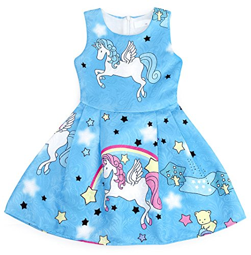 Cotrio Rainbow Unicorn Dress for Little Girls Birthday Party Dress Up Toddlers Casual Dresses Size 6 (5-6Years, Blue with Stars) by Cotrio (Image #4)