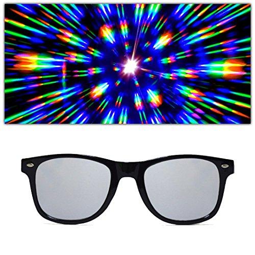 GloFX Diffraction Glasses – Black – Mirror