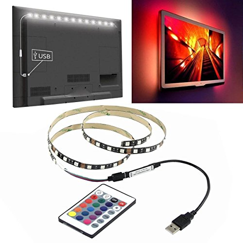 M) 5V USB LED Strip 5050 RGB TV Background Lighting 60LEDs/m with 24Key IR Controll ()