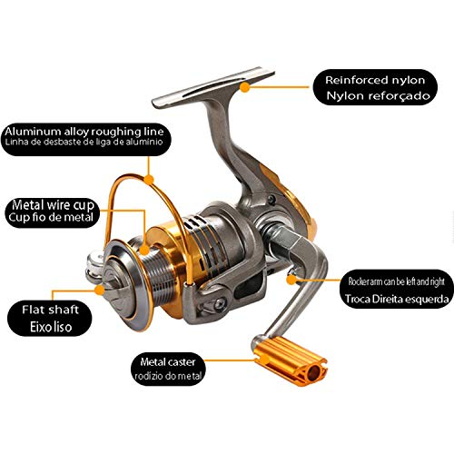 Metal Spinning Fishing Reel Gear Ratio 11Bb Spin Feeder Fishing Reels 1000-7000 Lightweight