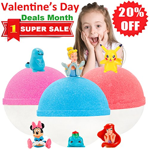 Kids Bubble Natural Bath Bombs Gift Set with Surprise Toys Inside Huge Fun Lush Organic Bath Fizzy for Girls and Boys Great Best Brithday Christmas Gifts 3 XL 6.5oz Girls Bath