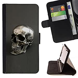 Momo Phone Case / Flip Funda de Cuero Case Cover - Plata Cráneo gris Bling Dead metal - Samsung Galaxy E5 E500