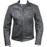 Xelement XS2002 Womens Black Armored Leather Jacket - Large