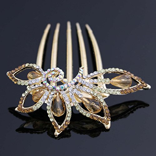 Nero Women's Bridal Wedding Hair Combs Accessories with Floral Alloy & Rhinestones (Gold)