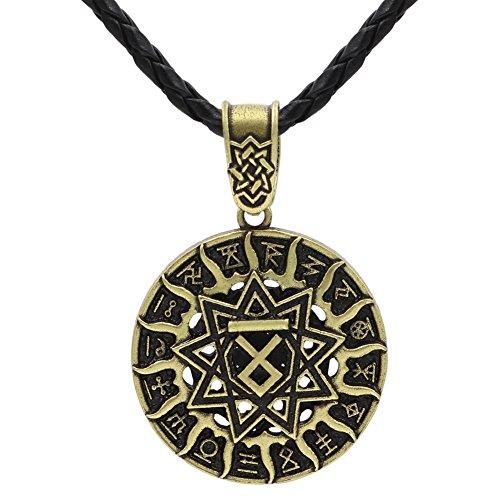 Xicoh Men Slavic Amulet Pagan Talisman Kolovrat Symbol Pagan Jewelry Sun Wheel Amulet Pendant Necklace (Pendant Wheel Sun)