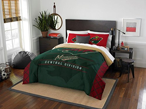 Minnesota Wild - 3 Piece FULL / QUEEN SIZE Printed Comforter & Shams - Entire Set Includes: 1 Full / Queen Comforter (86