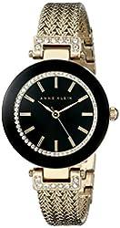 Anne Klein Women's AK/1906BKGB Swarovski Crystal-Accented Watch with Gold-Tone Mesh Bracelet