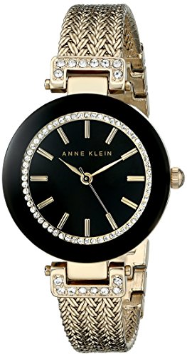 Anne Klein Ladies Crystal - Anne Klein Women's AK/1906BKGB Swarovski Crystal-Accented Watch with Gold-Tone Mesh Bracelet